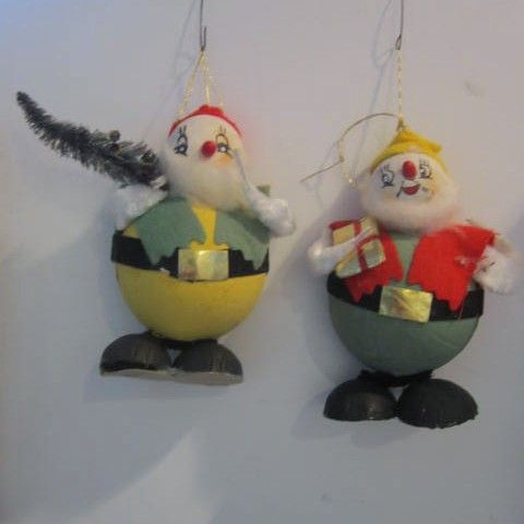 Pair of Vintage Christmas Elves Tree Decorations