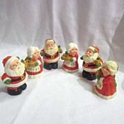 Vintage 3 Sets Handpainted Christmas Santa & Mrs. Salt & Pepper by Hallmark