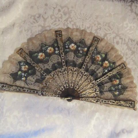 Vintage Spanish Lace & Fabric Hand Painted Fan with Faux Tortoise Shell