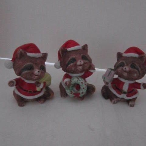 Vintage 3 Christmas Raccoons