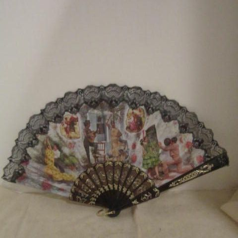 Vintage Spanish Fan with Black Lace & Scenes of Spain