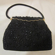 Vintage Beaded Black Purse/Evening Bag
