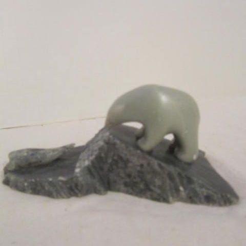 Vintage British Columbian Jade Bear Stalking a Seal Signed by Ben Saclamana