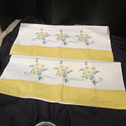 Vintage Pair of Hand Embroidered Pillow Cases with Flowers & Yellow Band