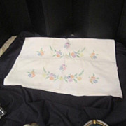 Vintage Pair of Hand Embroidered Pillow Cases with Daisies