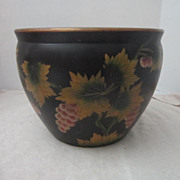 Vintage Flower Pot Black with Golden Leaves