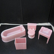 Vintage Pink Plastic Bathroom Doll Furniture by Plasco