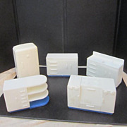 Vintage White Plastic Doll House Kitchen Furniture by Plasco