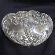 SALE Twin Hearts Silver Plated Box