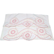 Pair of Standard Pillowcases with Pink & White Crochet in Cutouts