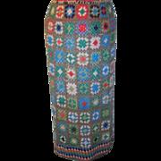 Hand Crocheted Long Skirt Granny Squares Rayon Thread