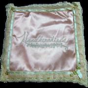 Pink Rayon Handkerchief Holder I. Magnin with 3 Handkerchiefs