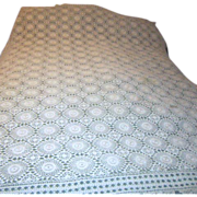 """Hand Crocheted 60"""" x 76"""" Ecru Colored Tablecloth"""