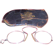 Lady's Pince Nez Spectacles (Eye Glasses) with Original Case