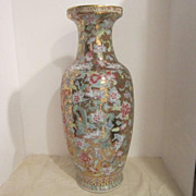 Vintage Chinese Porcelain Vase With Dragons, Flowers and Gold Background