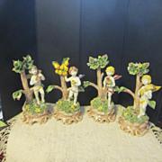 Vintage Set of Four Capodimonte Cherubs Celebrating The Four Seasons