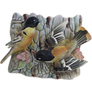 Ceramic Planter Tree Trunk with Two Orange and Black Birds