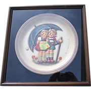 Hummel Anniversary Plate First Edition Stormy Weather in Framed Shadow Box
