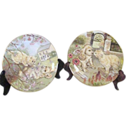 Pair of Pam Cooper Royal Worcester Kitten and Puppy Plates