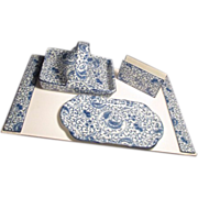 Four Piece Asian Porcelain Desk Set in Blue and White