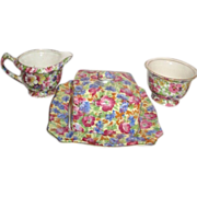 Chintz Set of Covered Butter Dish Cream and Sugar