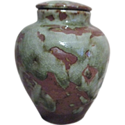 Small Asian Ginger Jar Partially Glazed Over Unglazed