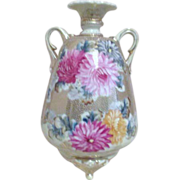 Antique Hand Painted Double Handled Vase with Chrysanthemums