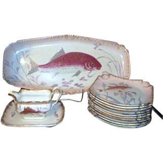 Antique Royal Bonn Hand Painted Fish Serving Set Platter, 11 Plates, Sauce Boat with Underplate