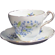 Regency Bone China from England Cup and Saucer with Forget-me-nots