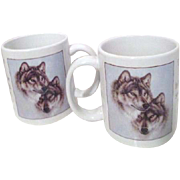 Pair of Coffee Mugs with Two Wolf Faces and Helen Keller Quote