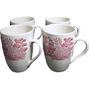 Set of Four Pink Willow Coffee Mugs by Churchill from England