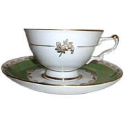 J.K. Decor Carlsbad Bavaria Cup & Saucer Green & White