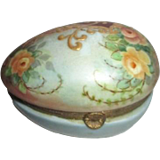 Antique Hand Painted Hinged Egg Box Signed