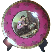 Decorator Plate with Young Grape Harvesters and Gold Highlights