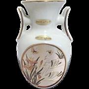 White Japanese Chokin Vase with Swan Scene