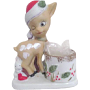 Porcelain Fawn with Candle Holder by Christmas Luvkins Jasco 1978