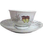 Four Kutani Cups and Saucers with Owls and Bamboo Platinum Trim