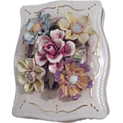 Capodimonte Style Porcelain Box with Applied flowers Made in Italy