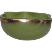 Green Bowl with Gold Trim Undulating Sides c1940