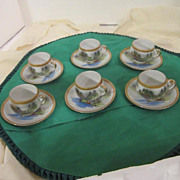 Vintage Porcelain Hand-Painted Demi-tasse Tea Set Geisha Girl Lithophane