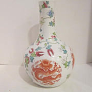 Vintage Porcelain Chinese Vase with Ferocious Dragons and Birds