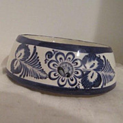 Vintage Blue & White Ceramic Lidded Bowl from Mexico