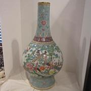 Vintage Porcelain Hand Painted Large Chinese Vase Signed on Bottom