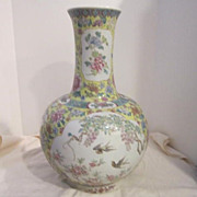 Vintage Large Chinese Hand Painted Porcelain Vase with Seal on Bottom