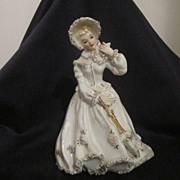 Vintage Lefton, Lady in White with Parasol