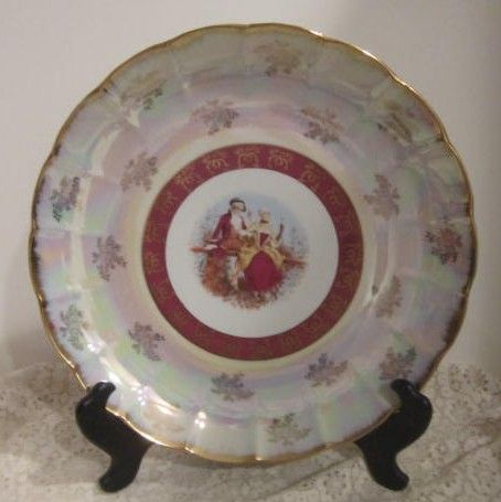 """Vintage Decorative Iridescent Platter """"MTK"""" with Colonial Couple"""