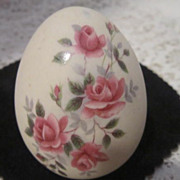 Vintage Ceramic Egg with Roses & Leaves in Bisque Finish