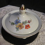 Vintage Porcelain Lidded Bowl from Bavaria with Flowers