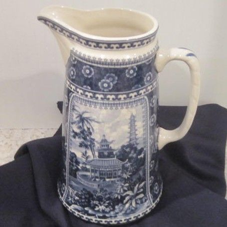 Vintage Blue & White Oriental Scene Water Pitcher