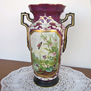 Antique Victorian Maroon Vase with Handles, Hole in Bottom,  Scene with Butterflies and Flower